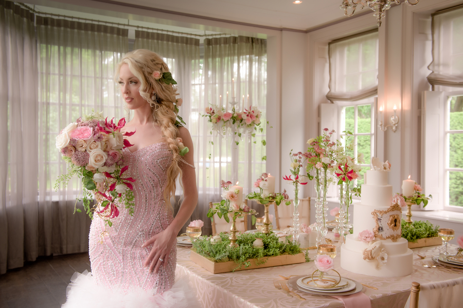 A Fairytale Wedding Styled Shoot in Pink and Gold / Flowers by Kaas Floral Design / Sequined Dress by Sharleez Concept / Photo by collective67