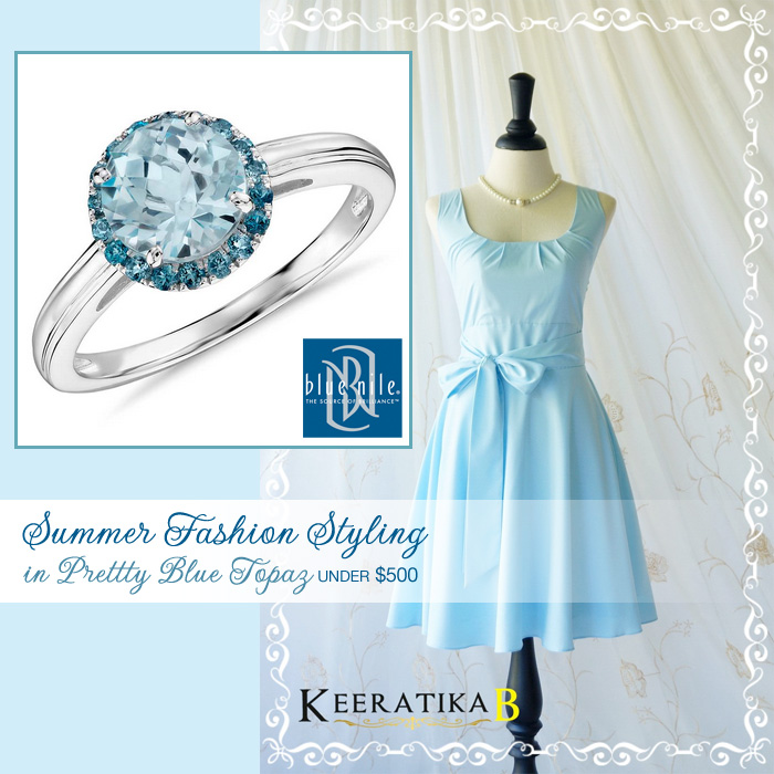 Summer Weddings : Fashion Styling in Pretty Blue Topaz for Under $500