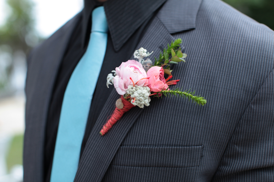 Pink and Green Boutonniere / photo by Tab McCausland Photography