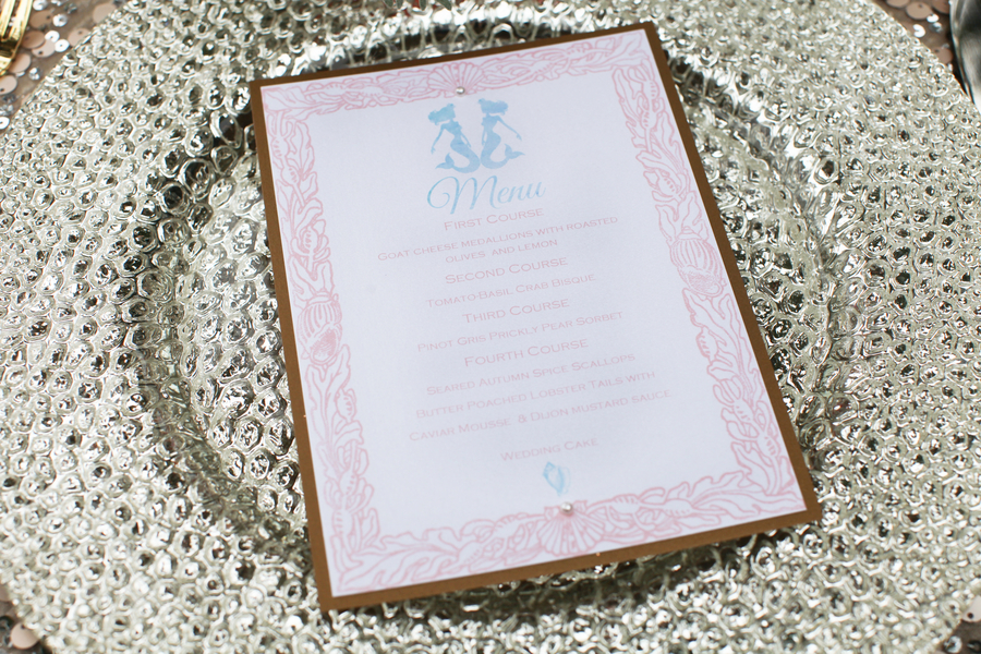 Under the Sea Inspired Wedding Menu by Pretty Peacock Paperie  / photo by Tab McCausland Photography
