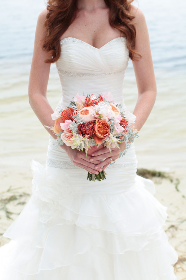 Pretty Pink, Orange, Salmon and Cream Wedding Bouquet / photo Under the Sea Inspired Wedding Shoot / photo by Tab McCausland Photography