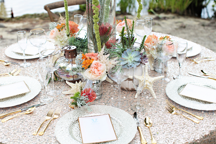 Sparkly Linens for an Under the Sea Inspired Wedding Shoot / photo by Tab McCausland Photography