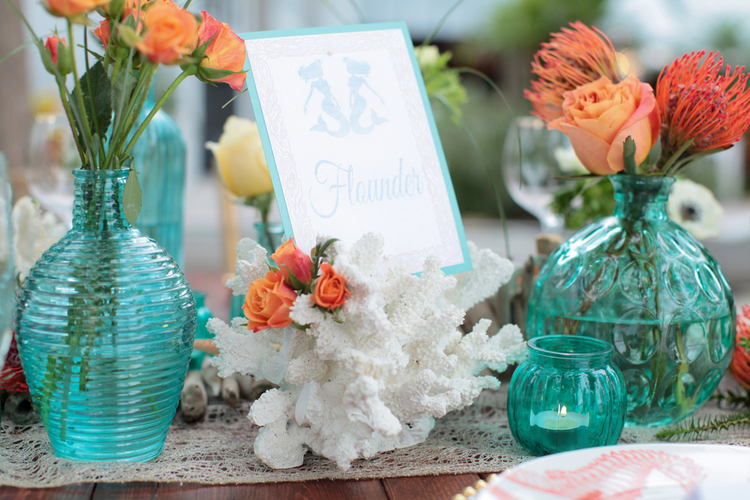 Cute Under the Sea Inspired Wedding Table Card from Pretty Peacock Paperie  / photo by Tab McCausland Photography