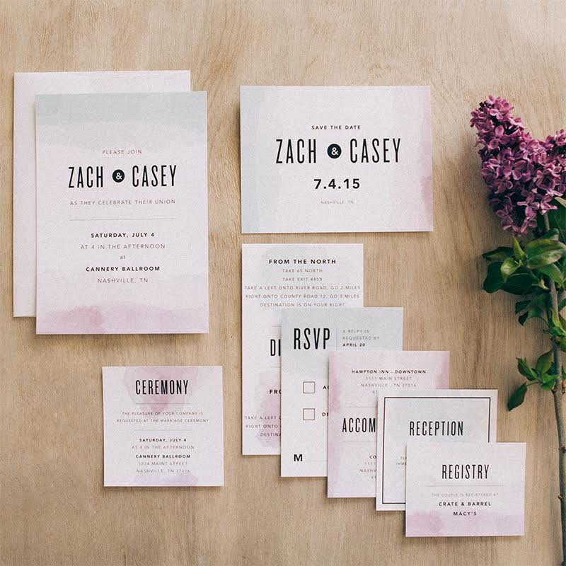 Watercolor Dip Wedding Invitation from Basic Invite