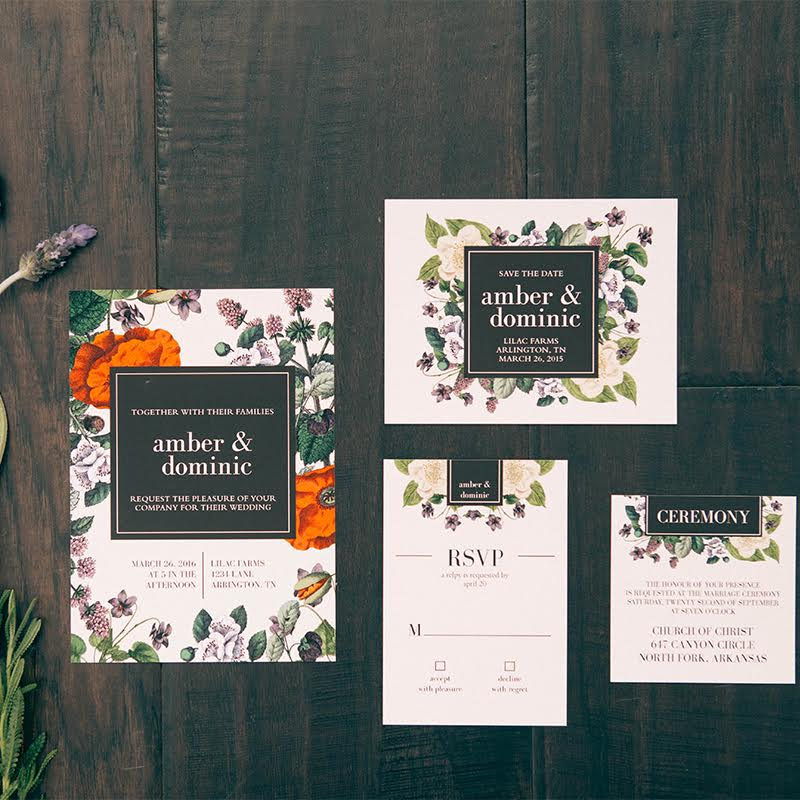Vintage Botanical Wedding Invitation from Basic Invite