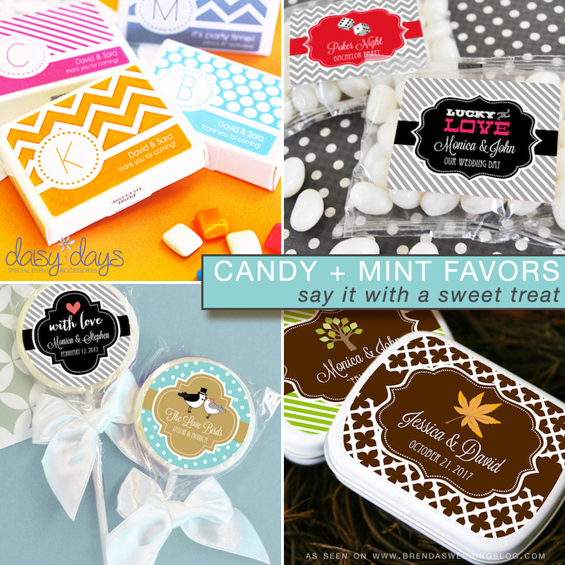 wedding candy and mints - say thank you to your guests with a sweet treat