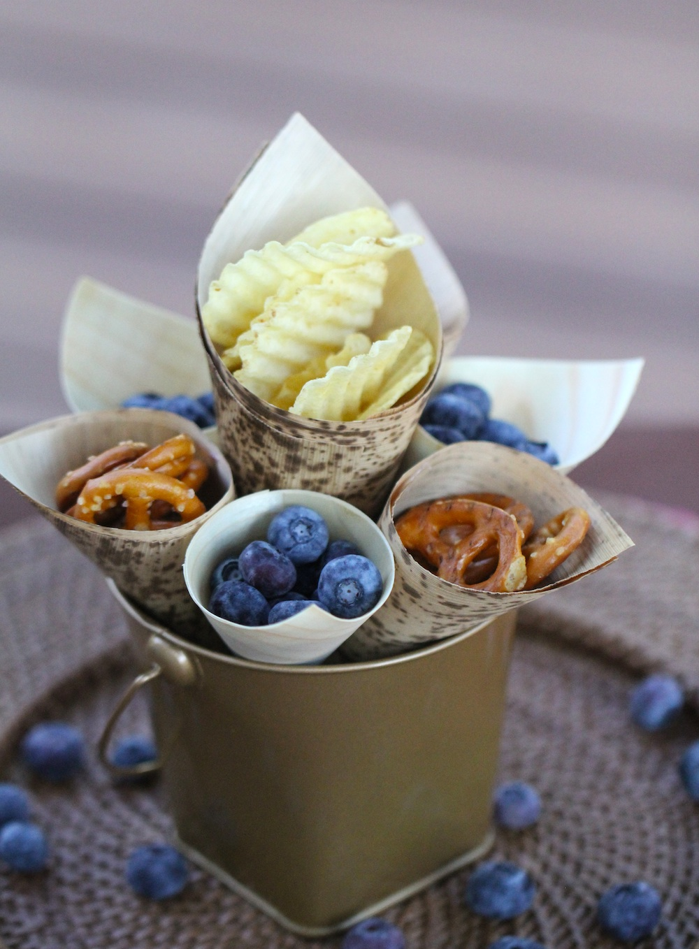Treat Your Guests to Snacks and/or Appetizers in Bamboo Cones - #ecofriendly Food Presentation Idea