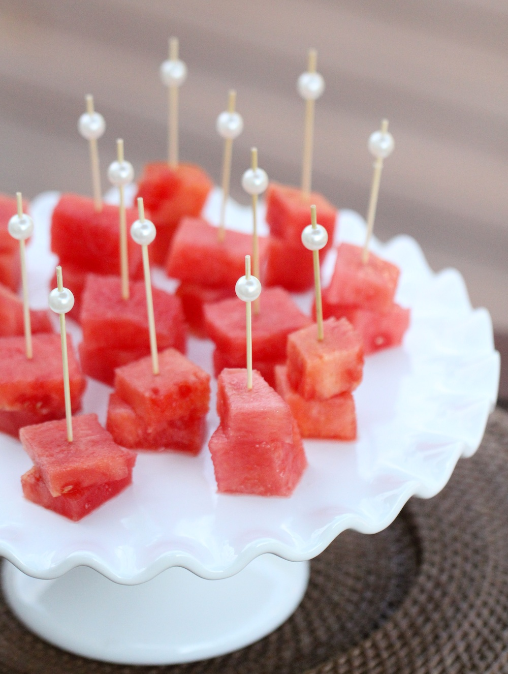 Mini Watermelon Skewers with Pearl Topped Toothpicks : treat your guests to a fancy presentation