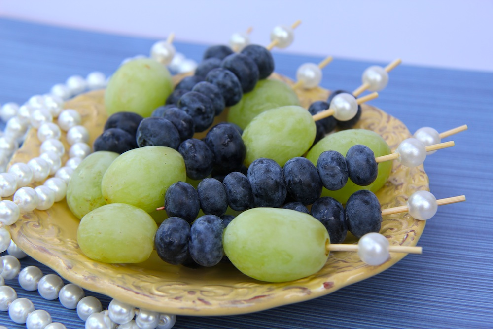 Pearl Topped Fruit Skewers : the pretty way to serve fruit at any party