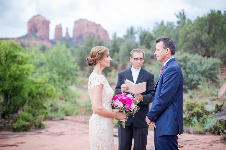 Gorgeous Pink and Blue Sedona, Arizona Wedding {an elopement in between severe thunderstorms}