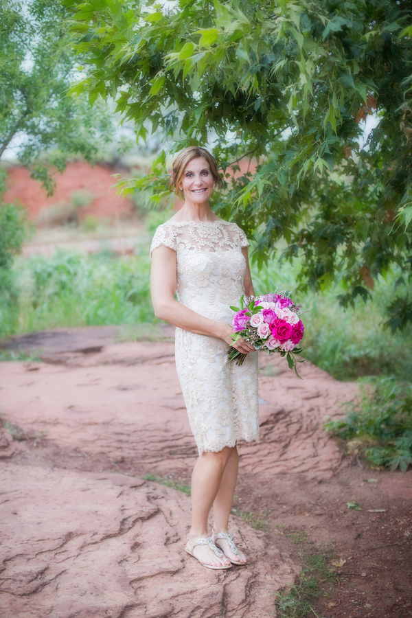 Pretty Lace Wedding Dress + Pink Bridal Bouquet by Sedona Fine Art of Flowers / photo by Love My Life Photography