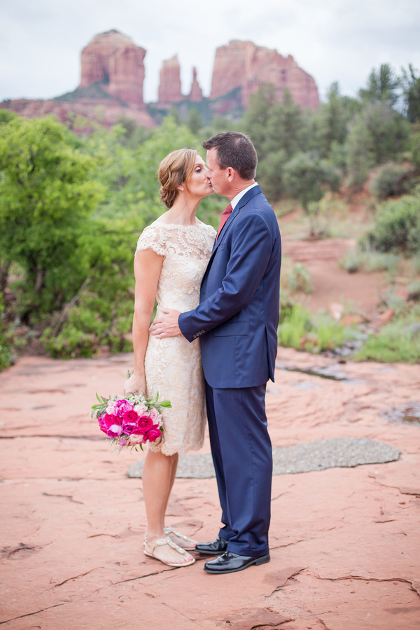 Happy Couple Says I Do in Sedona Arizona - Elopement Wedding / photo by Love My Life Photography