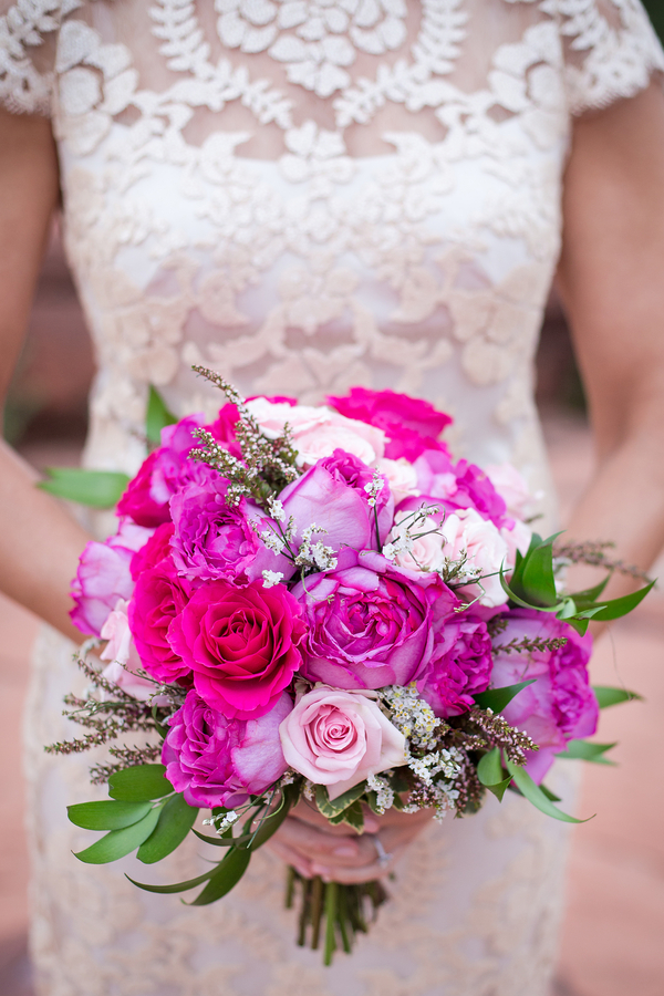 A hot pink blue arizona wedding in the middle of thunderstorms pretty pink wedding bouquet by sedona fine art of flowers photo by love my life mightylinksfo