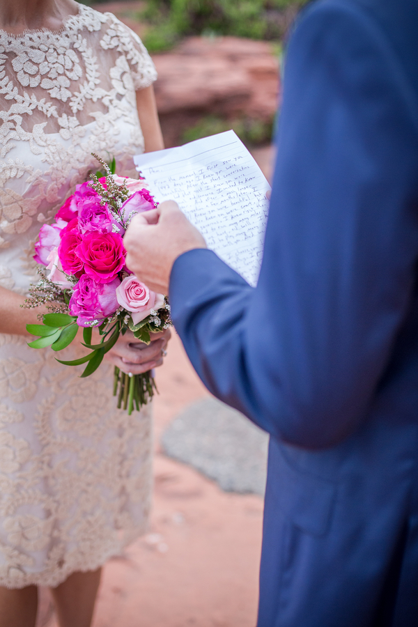 Handwritten Vows for a Pink + Blue Arizona Elopement Wedding / photo by Love My Life Photography