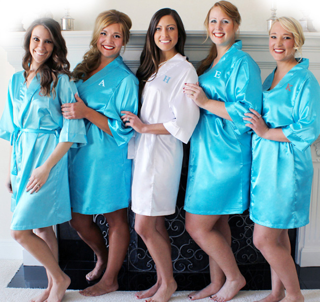 Personalized Satin Robes for Bridesmaids - Robes are the Number 1 Bridesmaid Gift {from The Wedding Outlet}