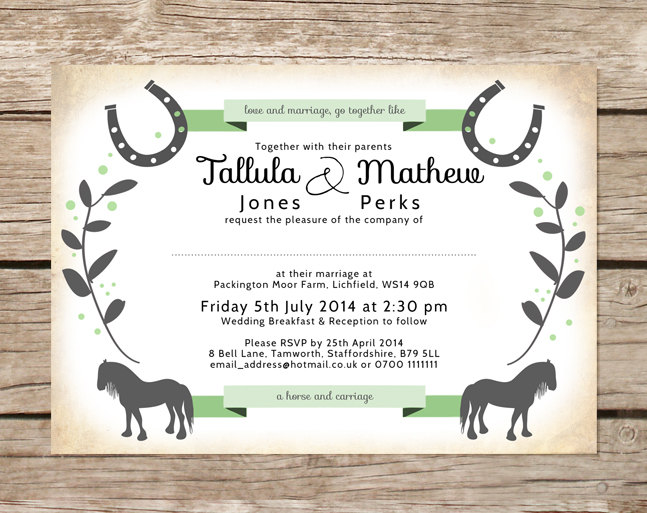 Equestrian Themed Wedding Invitation | by Be Our Guest Designs