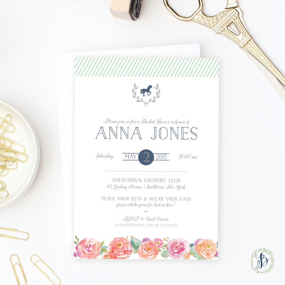 Kentucky Derby Bridal Shower Invitation | by   Bella Carta Boutique