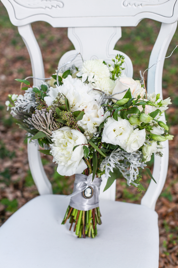 Organic Lush White Wedding Bridal Bouquet with Cameo on Wrapped Stems by Lee Forest Design / photo by Tab McCausland Photography