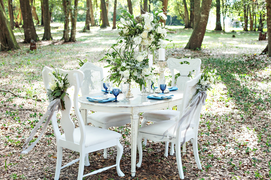 Pretty Wedding Tablescape with Vintage Farm Table + Chairs / photo by Tab McCausland Photography