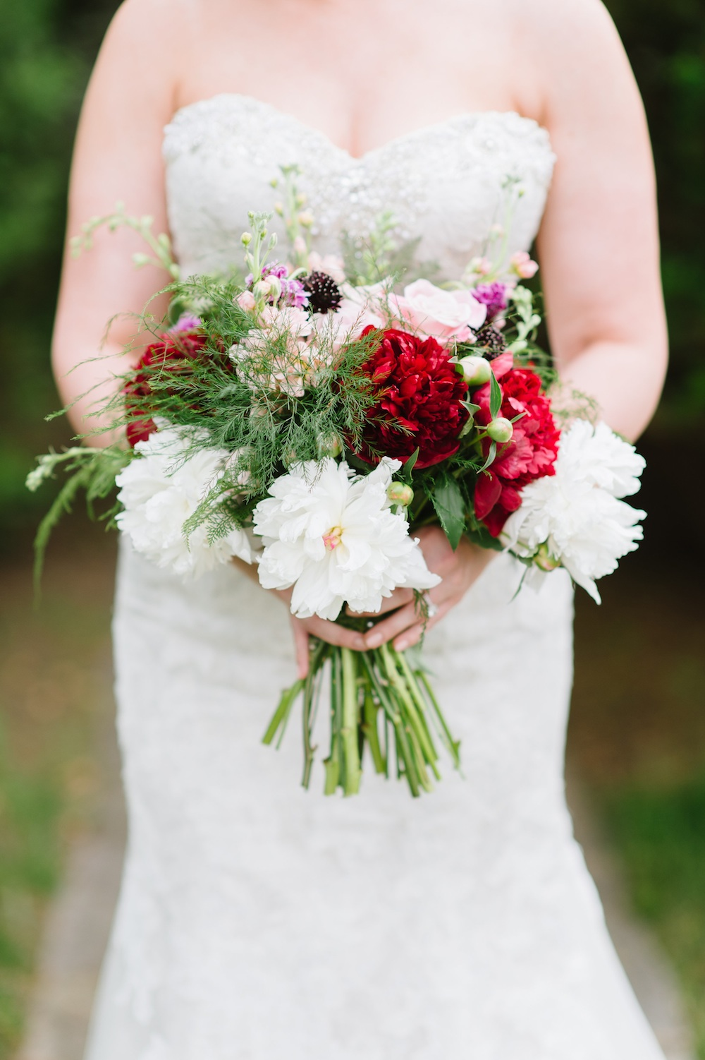 Woodland Inspired Wedding Bouquet {roses, peonies, peach stock, ferns, scabiosa, and larkspur} / designed by EightTreeStreet / photo by Natalie Franke Photography