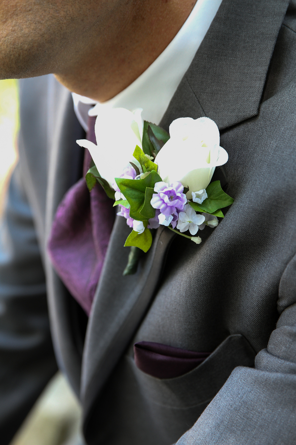 Grooms Purple Tie and White Rose Boutonniere / photo by Crystal Image Photography