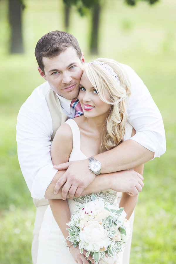 Gorgeous Bride + Groom from their Wedding on a Sheep Farm / photo by Mandy Owens Photography