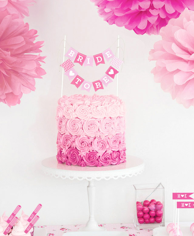 Printable Bride to Be Cake Bunting Flags {you choose the colors} / from Birds Party