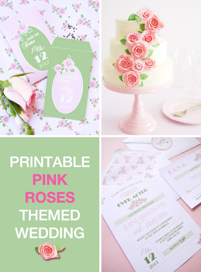 Pink Roses Themed Wedding Printables / from Birds Party