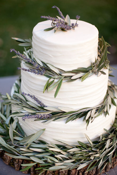 Lavender and Olive Wedding Cake