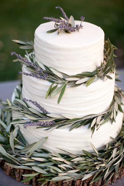 Lavender and Olive Wedding Cake
