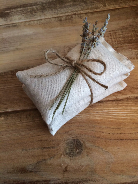 Natural Cotton Sachets With Dried Lavender - perfect rustic wedding favor