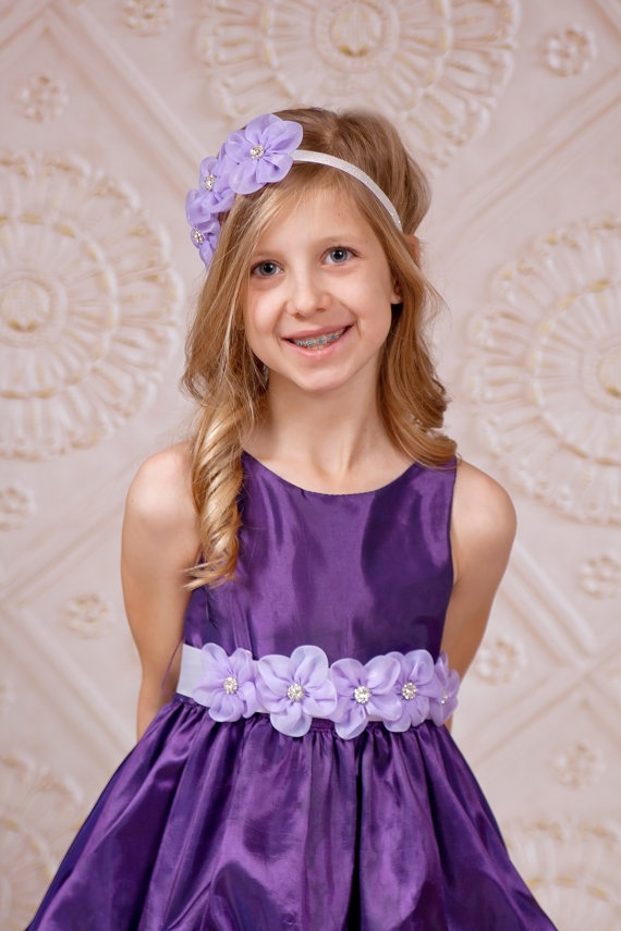 Lavender Flower Girl Sash