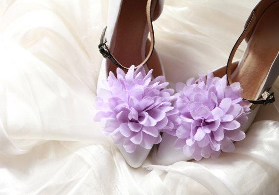 Lavender Flower Chiffon Shoe Clips
