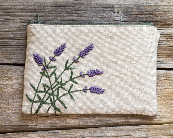 Embroidered Lavender Flowers Linen and Cotton Zipper Pouch