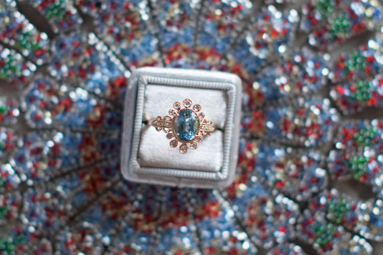 Pretty in Blue / Claire Pettibone's Vintage-Inspired Engagement Ring Collection