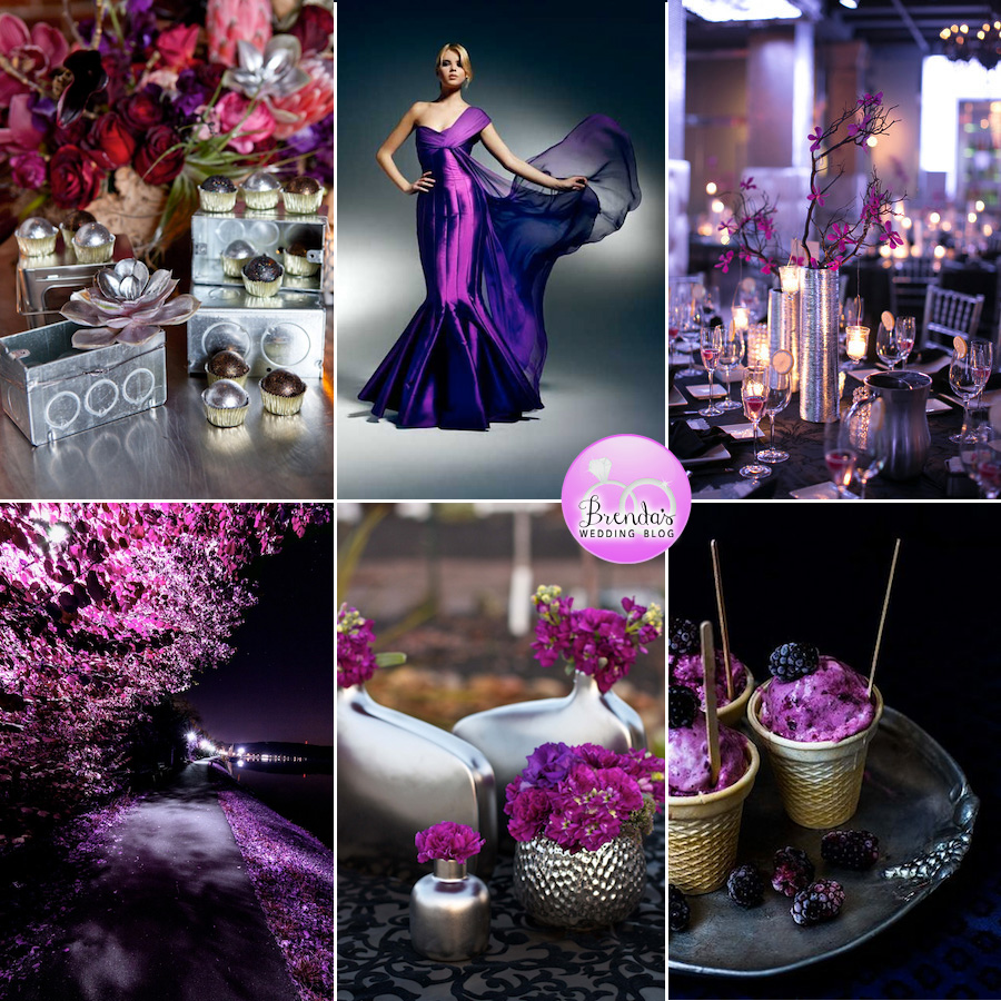 A Dramatic + Modern Pink and Purple Wedding Inspiration Board with Silver Accents