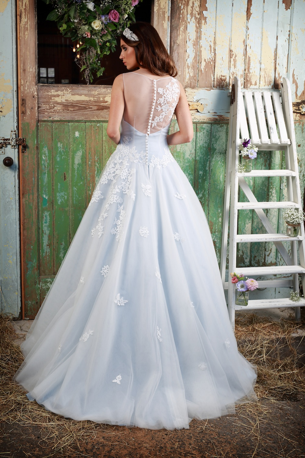 Amanda Wyatt 2016 Wedding Gowns : Aisla – princess gown in silver blue with an ivory lace and tulle overlay