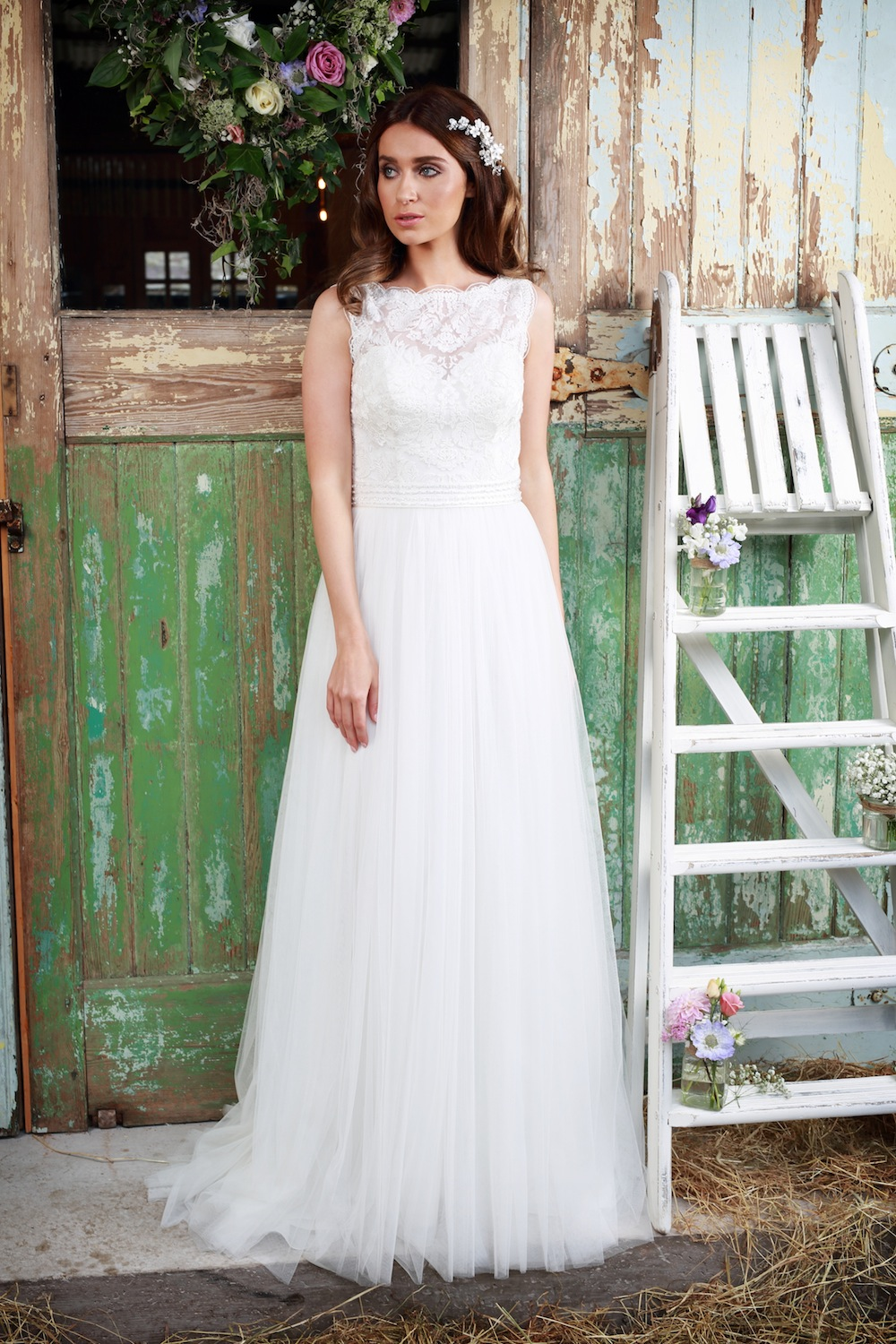 Amanda Wyatt 2016 Wedding Gowns : Chantilly - soft tulle style with a Chantilly lace bodice, delicate beading around waistline and a simple small train