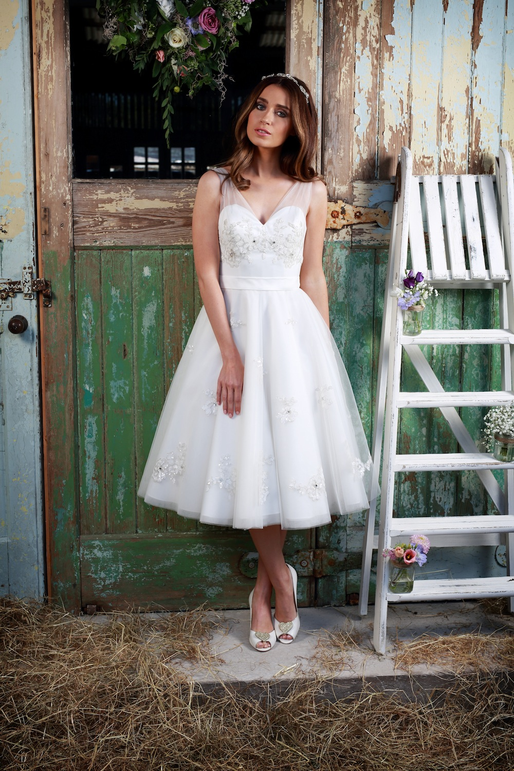 Amanda Wyatt 2016 Wedding Gowns : Cherub - flirty gown with sheer v-neck straps decorated with bead floral detailing.  The shoes on our photo-shoot were Charlotte Mills brand, so perfect to match the gown