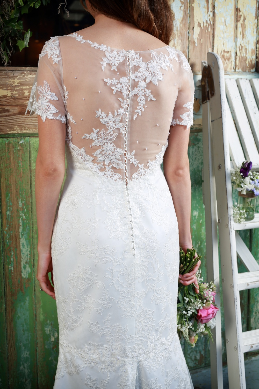 Amanda Wyatt 2016 Wedding Gowns : Honesty - divine mix of lace and clear tulle on sheer skin with a lace fishtail skirt