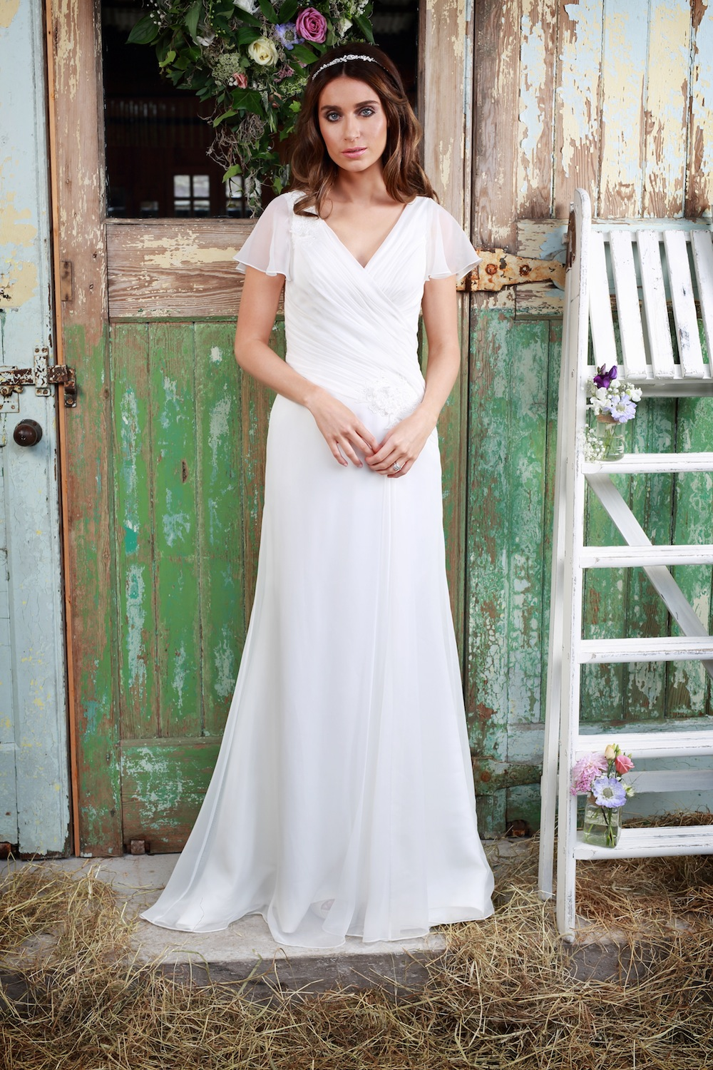 Amanda Wyatt Wedding Gown - Logan chiffon gown with a dreamy V-neck line + hand-stitched pleating
