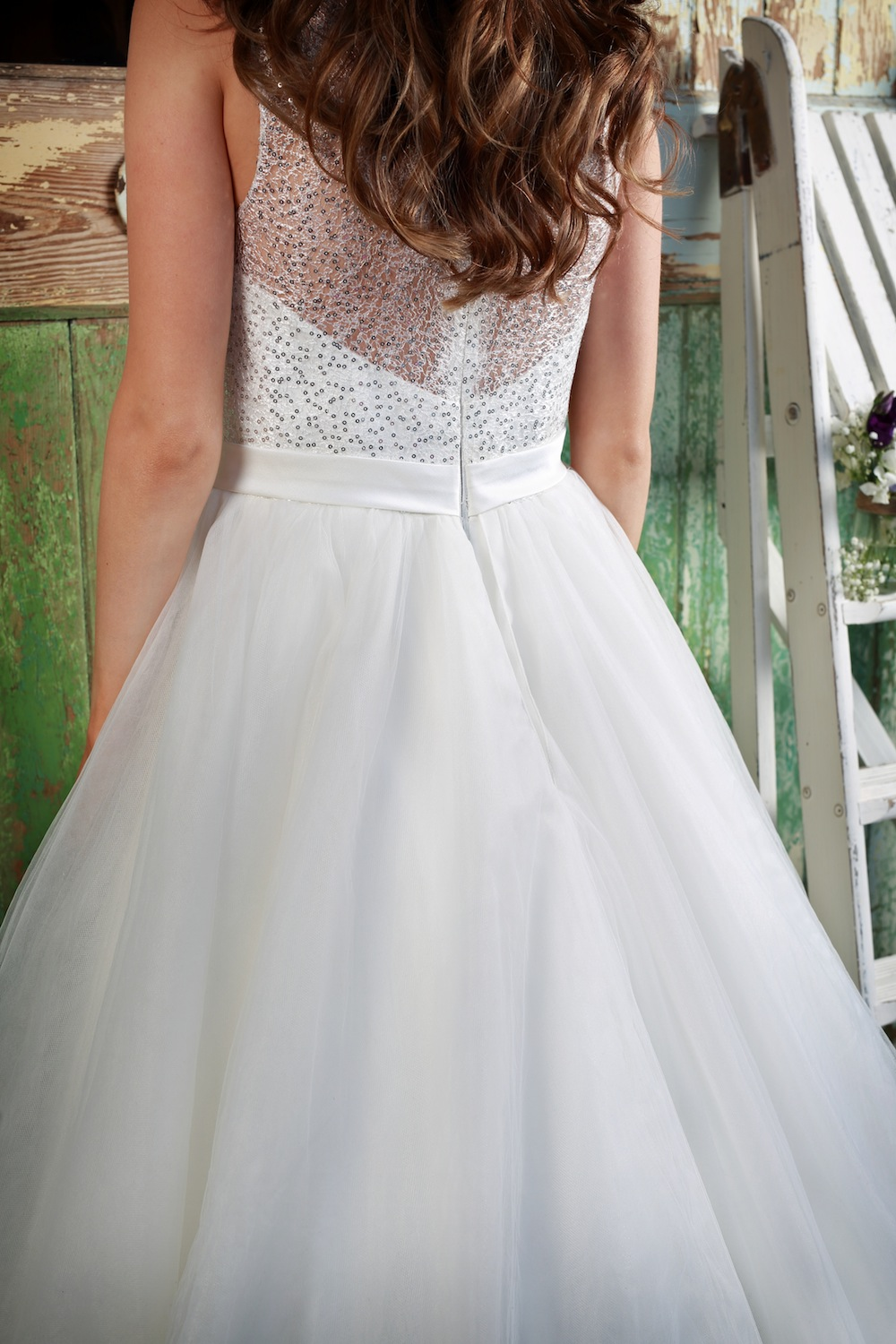 Amanda Wyatt Wedding Gown : Luna - silver sequin bodice and a full ball gown skirt