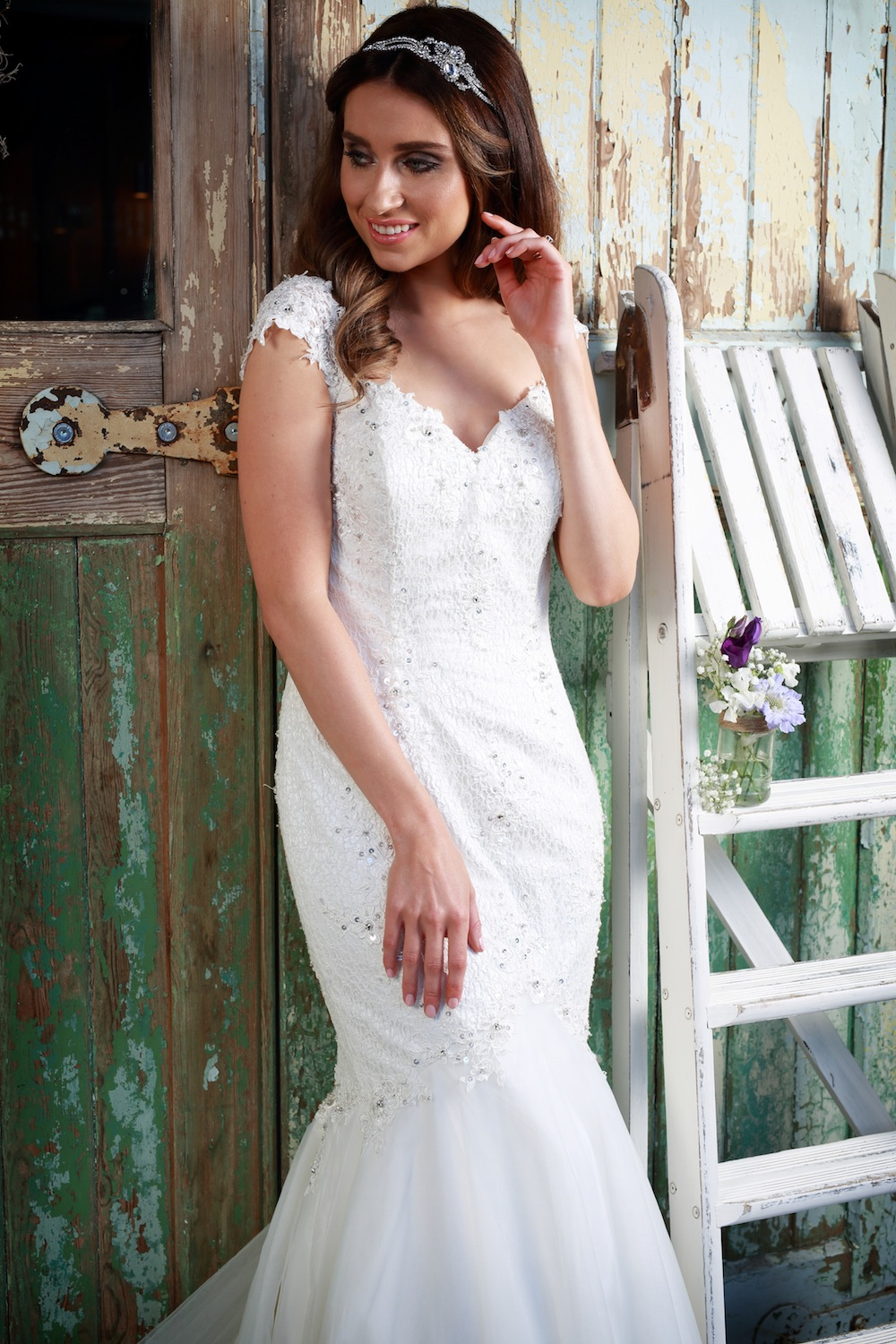Amanda Wyatt Wedding Gown : Paislee - figure hugging dress in lace with a train that will leave your guests gasping