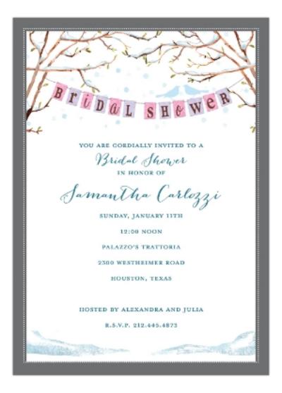 Love Birds Winter Bridal Shower Invitation