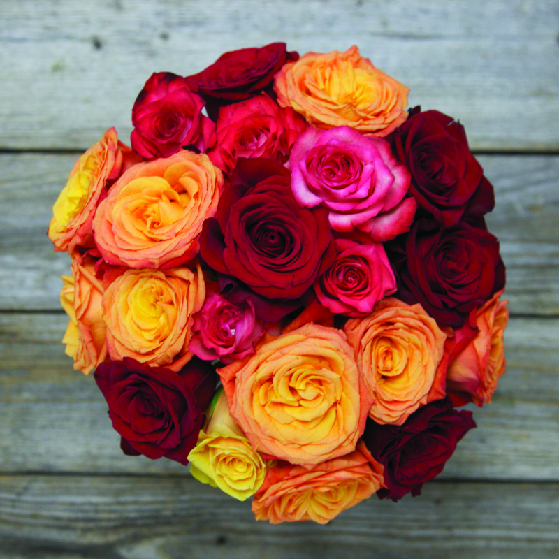 Unique Fall Bouquet :  Sunfire  - warm colored roses