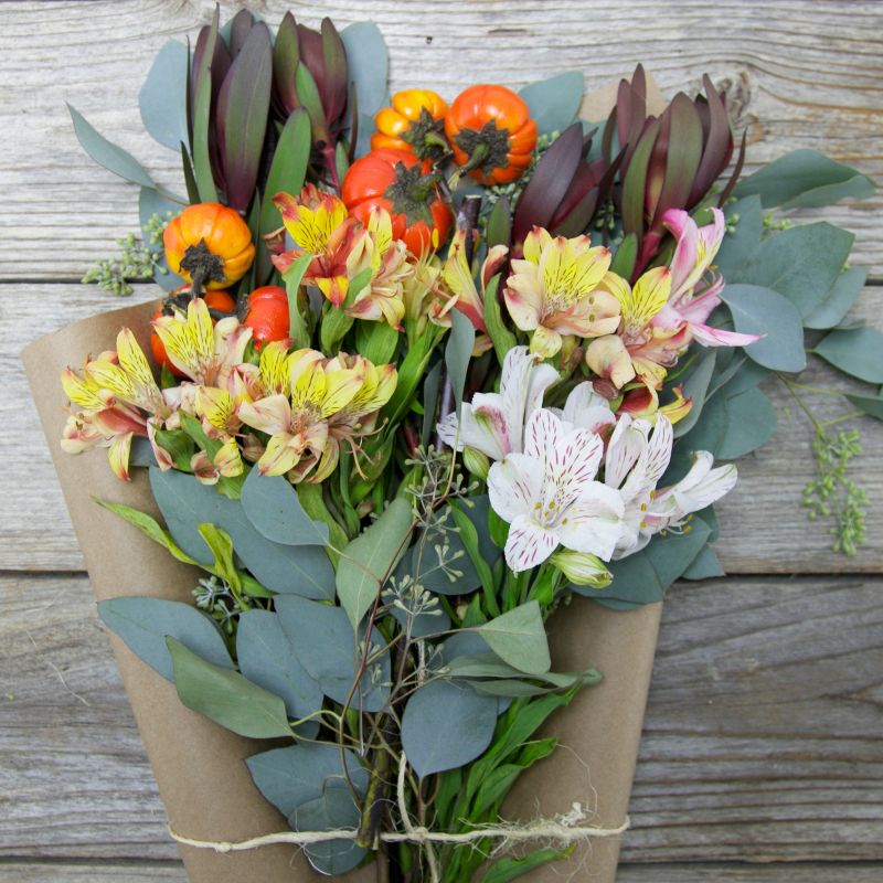Unique Fall Bouquet :  Scarecrow  - fresh cut Alstroemeria and Mini Pumpkins
