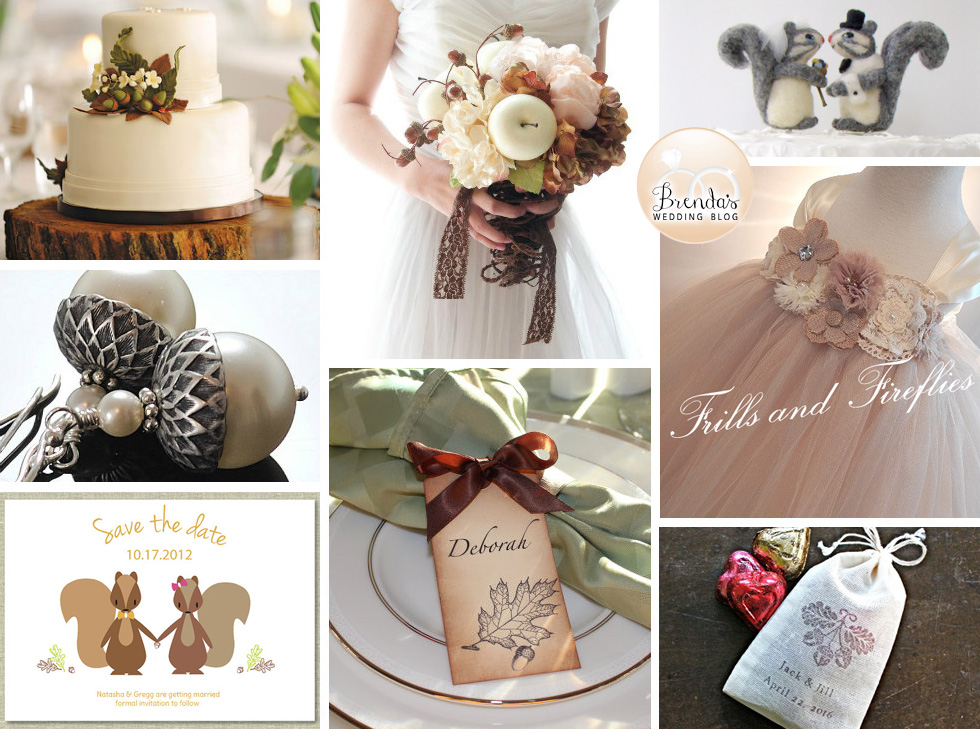 Fall Wedding Inspiration Board with Acorns and Cute Squirrels
