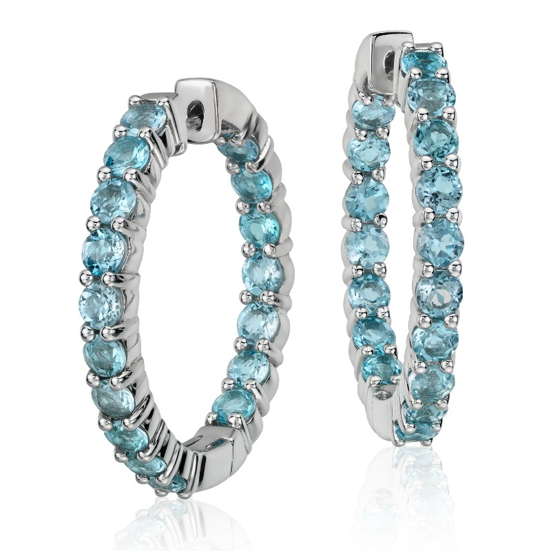 Blue Topaz Hoop Earrings $155
