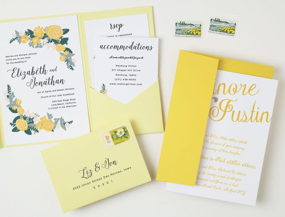 Elegance Wedding Invitation Suite with Ombré Yellow Envelopes