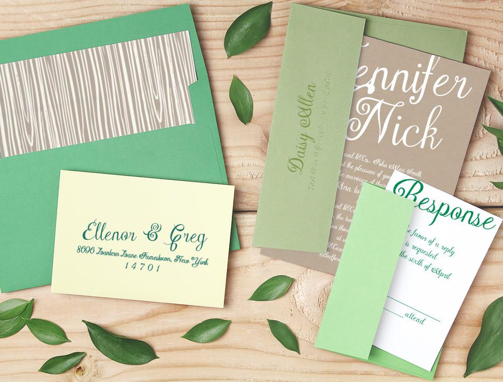 Elegance Wedding Invitation Suite with Ombré Green Envelopes